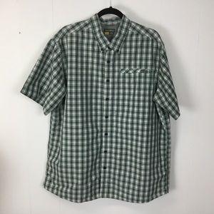 Eddie Bauer mens green button down shirt XXL